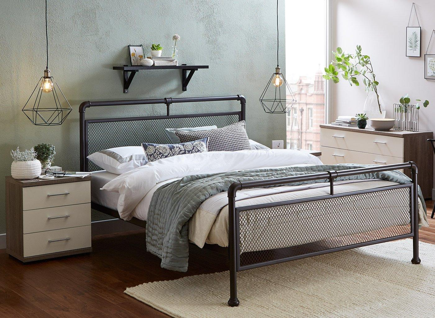 Ruskin Dark Metal Bed Frame 4'6 Double BROWN