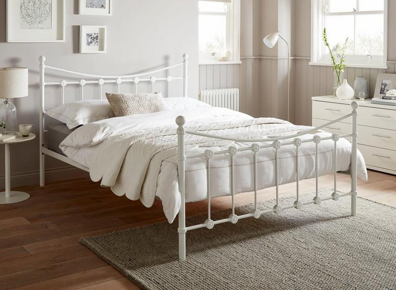 Ava D Metal Bed White (Sprung Slats) 4'6 Double