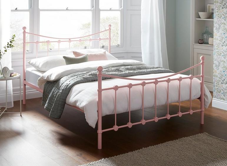 Ava K Metal Bed Pink (Sprung Slats) 5'0 King