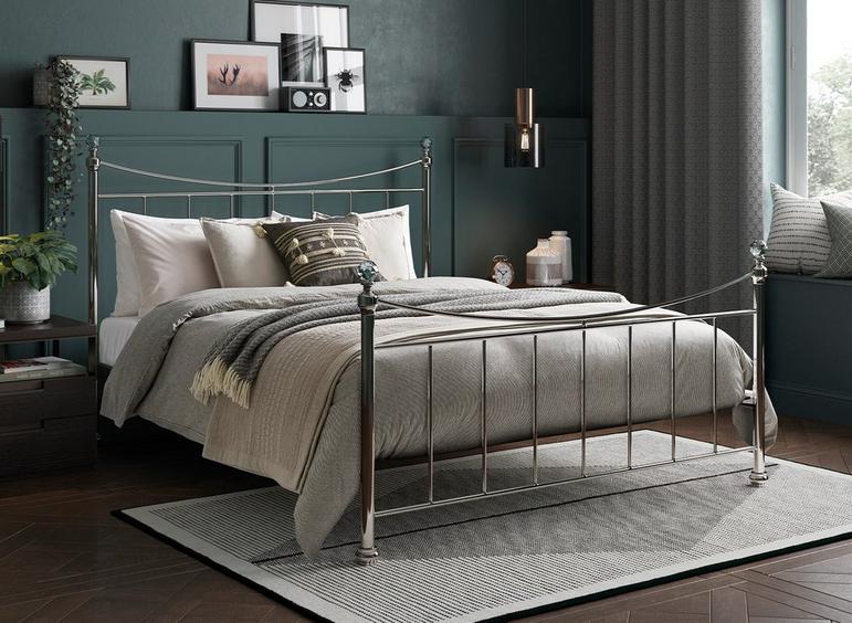 Lizzie D Nickel Bed (Sprung Slats) 4'6 Double BLACK