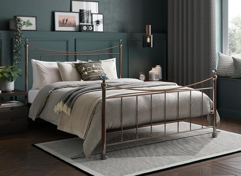 Lizzie SD Rose Gold Bed (Sprung Slats) 4'0 Small double