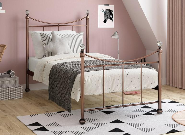Lizzie S Rose Gold Bed (Sprung Slats) 3'0 Single