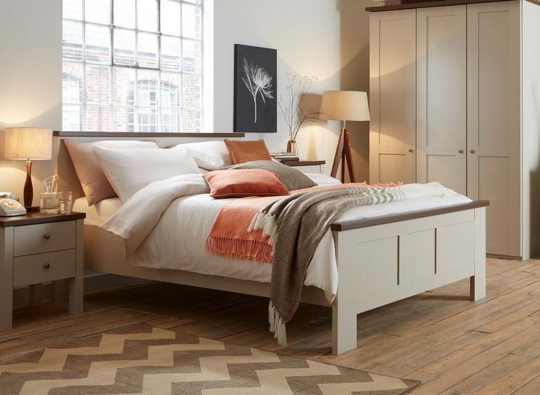 Sloane Bed Frame - Champagne And Dark Wood 5'0 King CREAM
