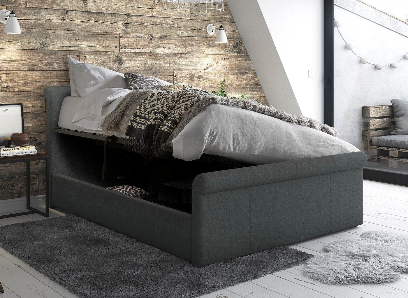 Wilson Grey Fabric Upholstered Bed Frame 5'0 King