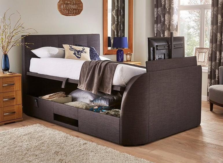 Evolution Slate Grey Fabric Upholstered Lg Led Tv Ottoman Bed Frame 4'6 Double