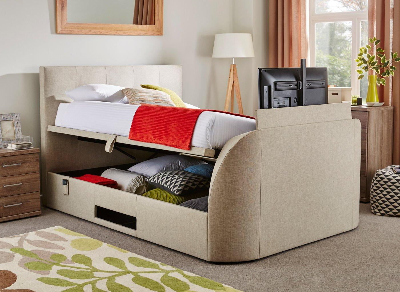 Tv In Bed : Newark ft double faux leather electric tv bed white amazon