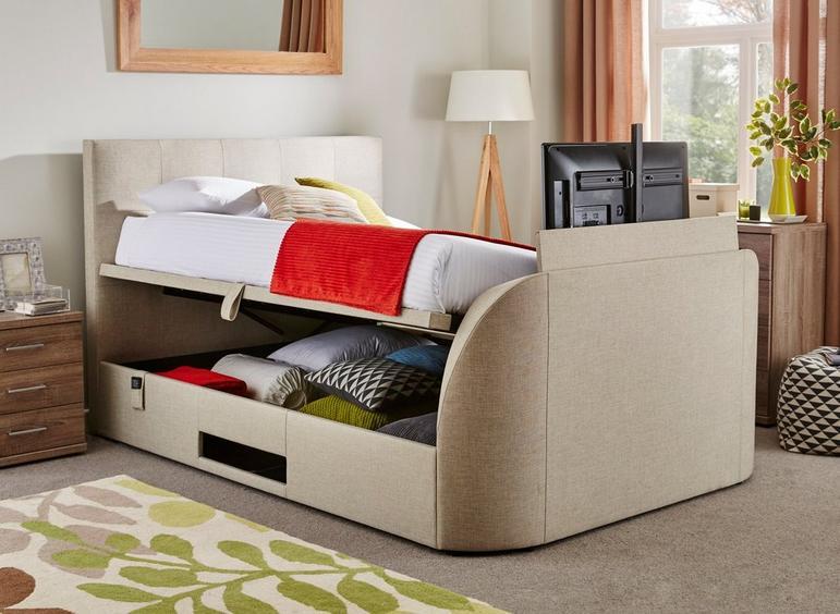 Evolution Fabric Upholstered Ottoman 32 LED TV Bed Frame