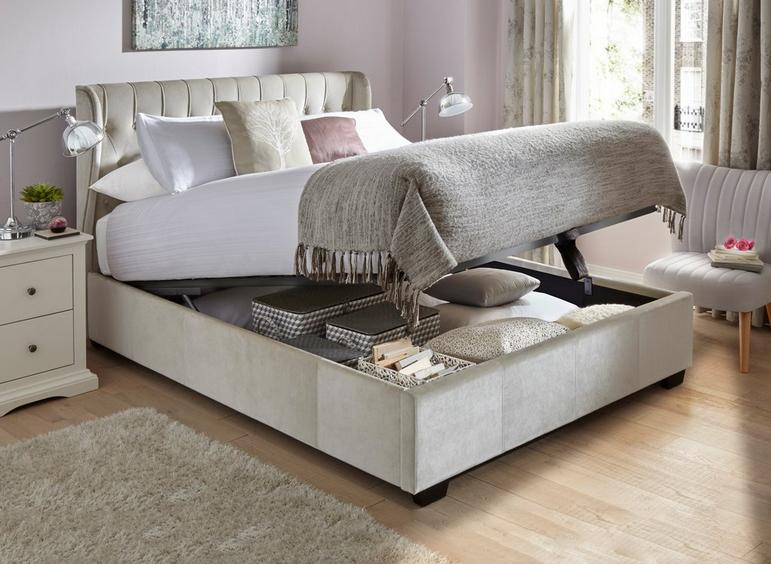 Prime Sana Fabric Upholstered Ottoman Bed Frame Storage Beds Creativecarmelina Interior Chair Design Creativecarmelinacom