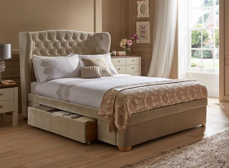 Maree Natural Velvet Upholstered Bed Frame 5'0 King CREAM