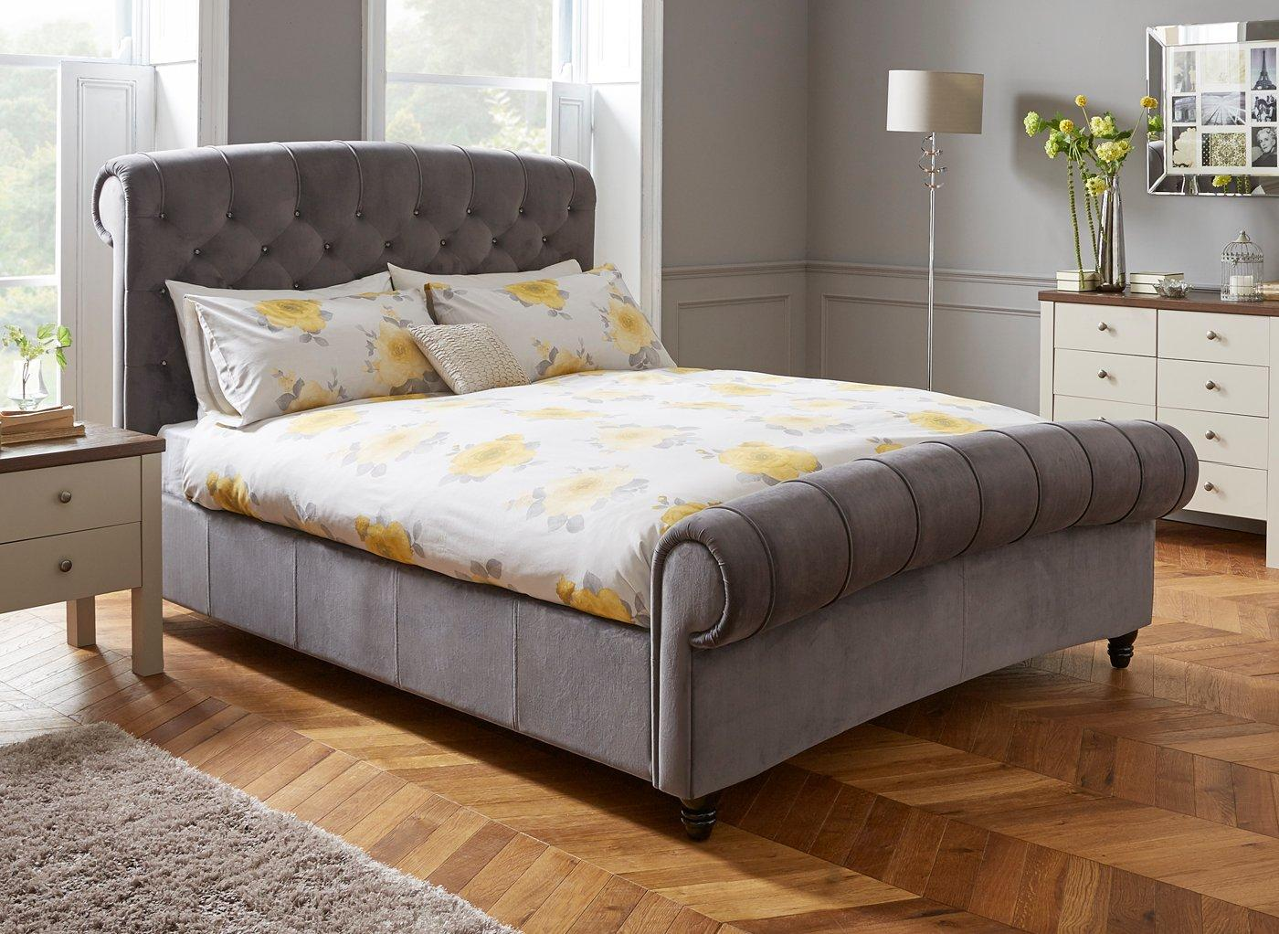 Ellis Dark Grey Velvet Finish Bed Frame 6'0 Super king