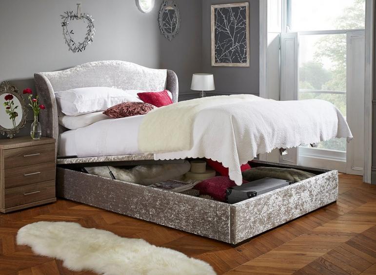 Showan Silver Crushed Velvet Ottoman Bed Frame 4'6 Double