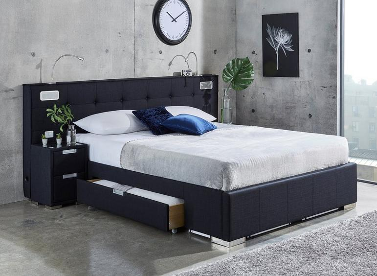 Cole Midnight Blue Fabric Bed Frame - With Sound System And Bedside Chests 5'0 King