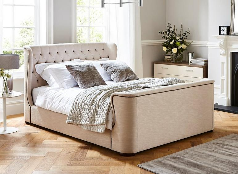 Brussels Natural Fabric Bed Frame 4'6 Double CREAM