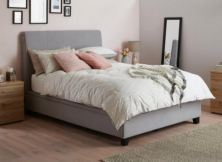 Francis Grey Fabric Ottoman Bed Frame 4'6 Double