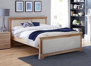 Sabina Natural Oak & Fabric Upholstered Bed Frame
