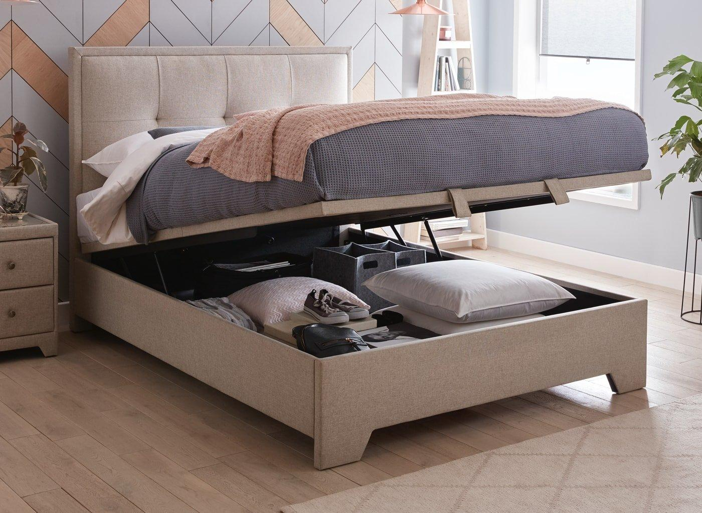 Hopkins Fabric Upholstered Ottoman Bed Frame Dreams