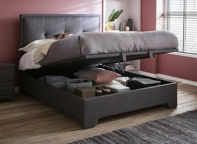 Incredible Hopkins Fabric Upholstered Ottoman Bed Frame Dreams Bralicious Painted Fabric Chair Ideas Braliciousco