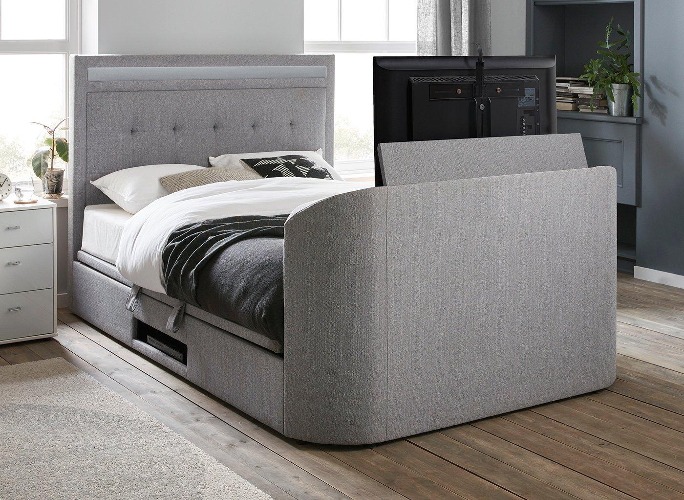 Tokyo D TV/Media Bed Grey Fabric SMART TV 4'6 Double