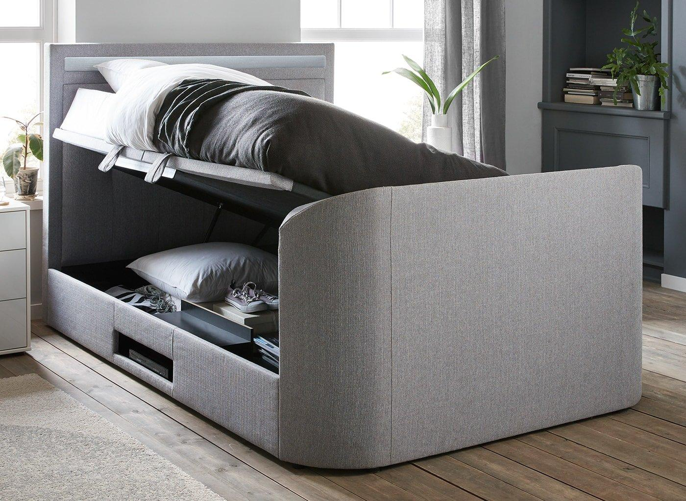 Tokyo D Otto TV/Media Bed Grey Fabric SMART TV 4'6 Double