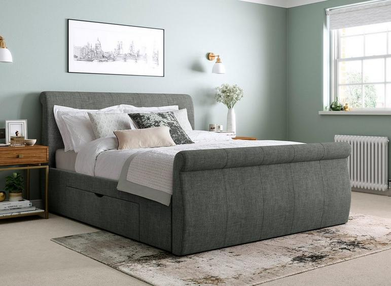 Lucia Grey Fabric Upholstered Bed Frame 6'0 Super king