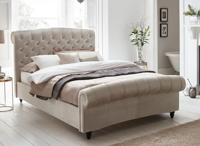 Ellis Pearl Velvet Finish Bed Frame 6'0 Super king BEIGE