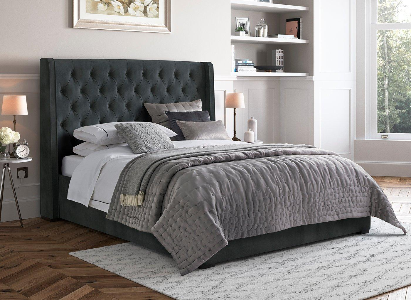 Deacon Upholstered Bed Frame 6'0 Super king GREY