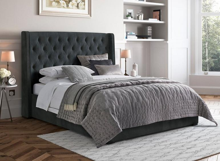 Deacon Upholstered Bed Frame 4'6 Double GREY