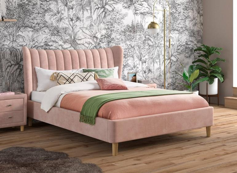 Knox Upholstered Bed Frame 4'6 Double PINK