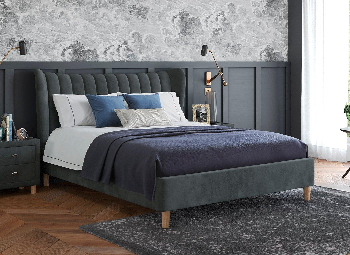 Knox Upholstered Bed Frame 6'0 Super king GREY