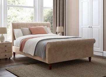 Westcott Velvet Finish Upholstered Bed Frame