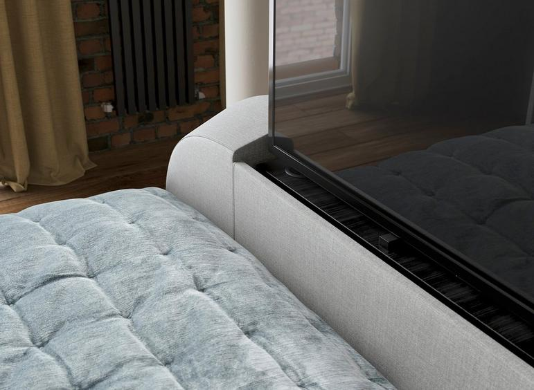 Super Seoul Upholstered 32 Led Tv Ottoman Bed Frame Beds Dreams Caraccident5 Cool Chair Designs And Ideas Caraccident5Info