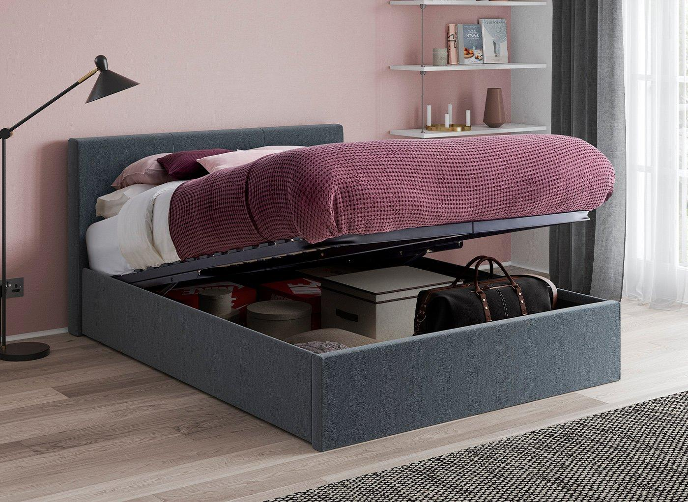 Yardley Upholstered Ottoman Bed Frame 3'0 Single GREY