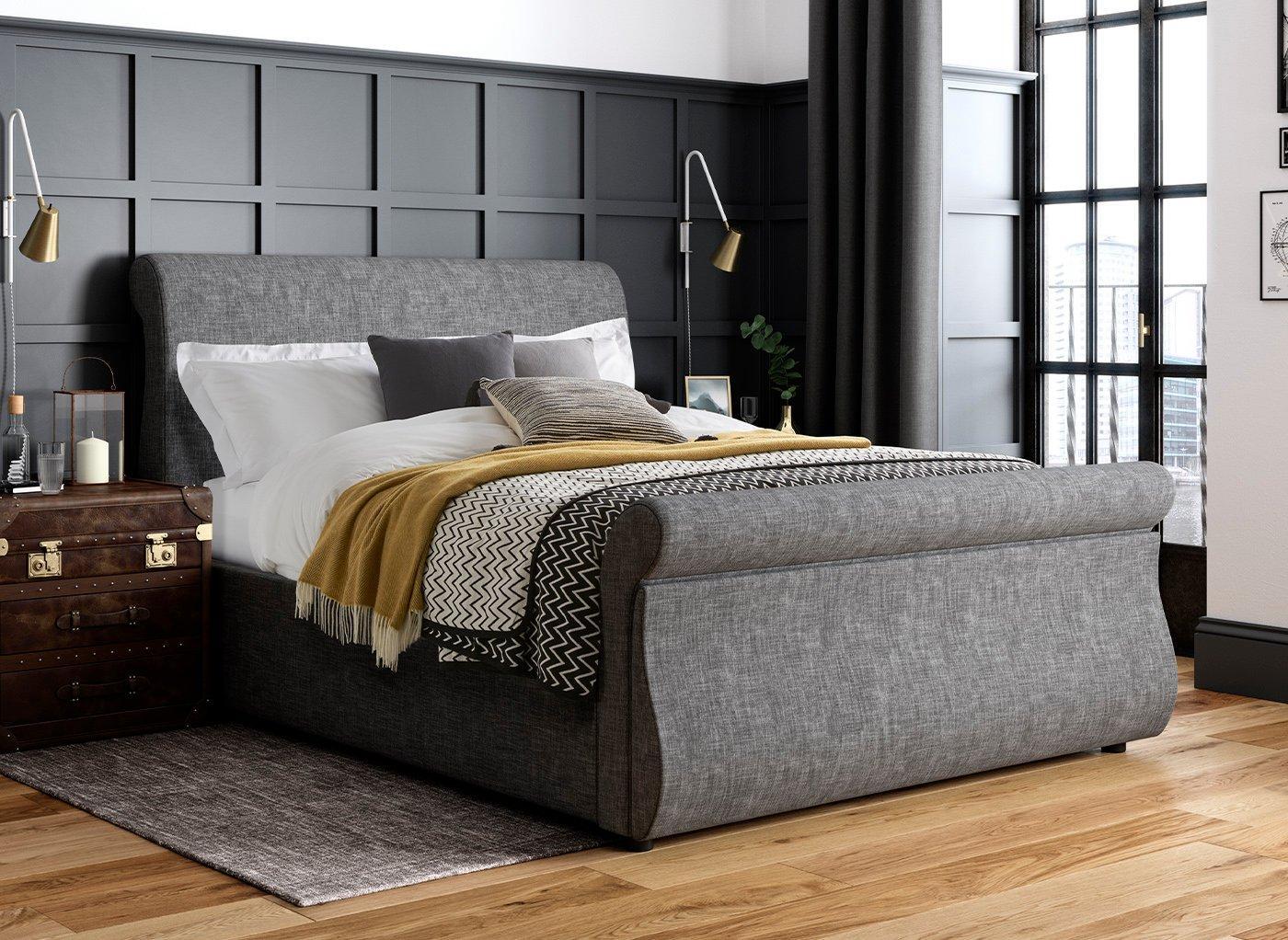 Detroit K Grey Fabric Drawer Bed (Solid Slats) 5'0 King