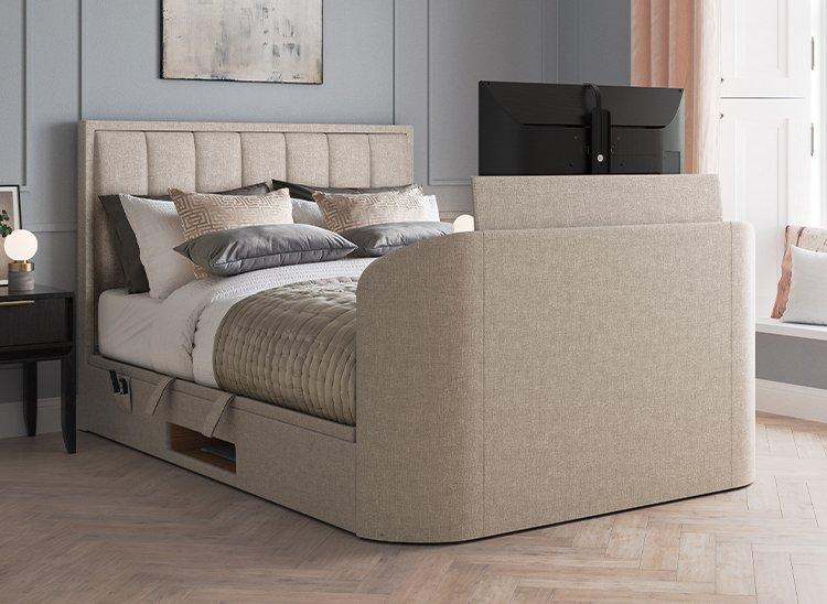 Osaka Ottoman TV Bed 4'6 Double BEIGE