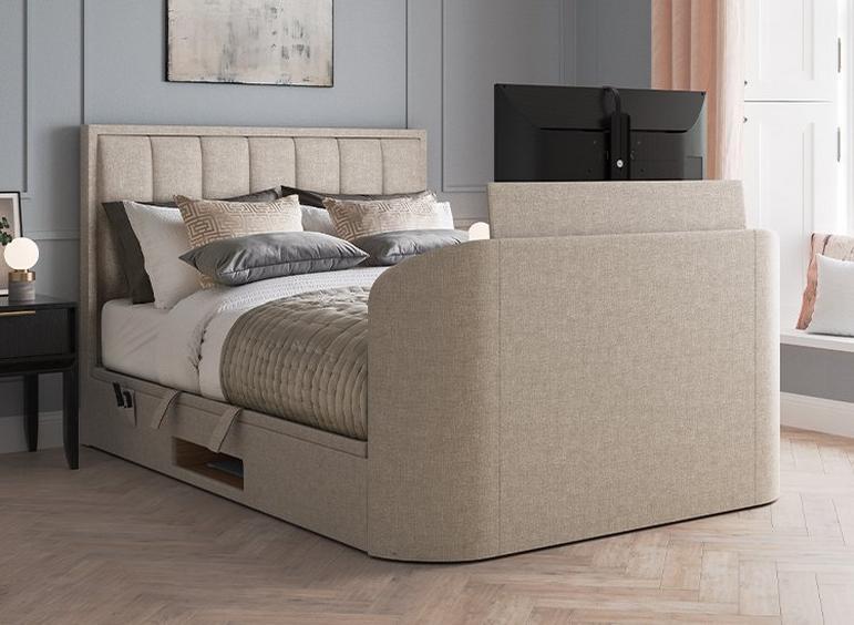 Osaka Ottoman TV Bed 6'0 Super king BEIGE