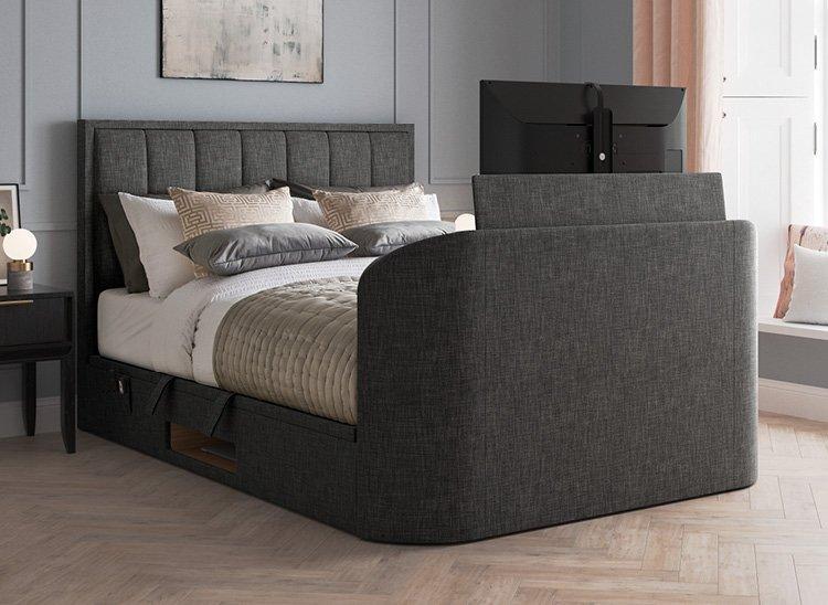 Osaka Ottoman TV Bed 4'6 Double GREY
