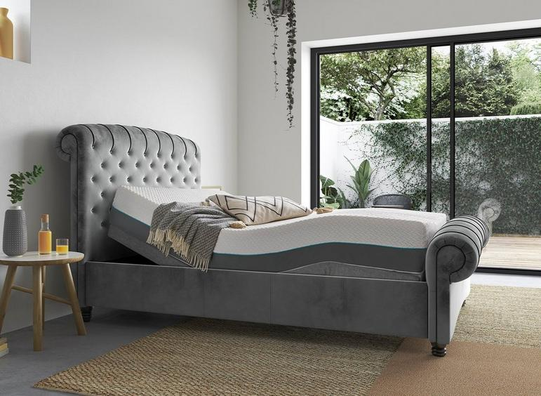 Ellis Sleepmotion 200i Adjustable Upholstered Bed Frame 4'6 Double GREY