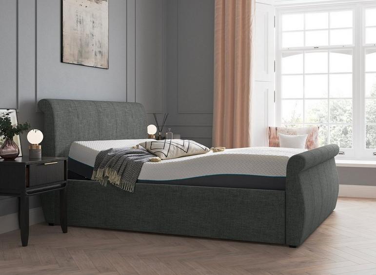 Lucia Sleepmotion 200i Adjustable Upholstered Bed Frame 4'6 Double GREY