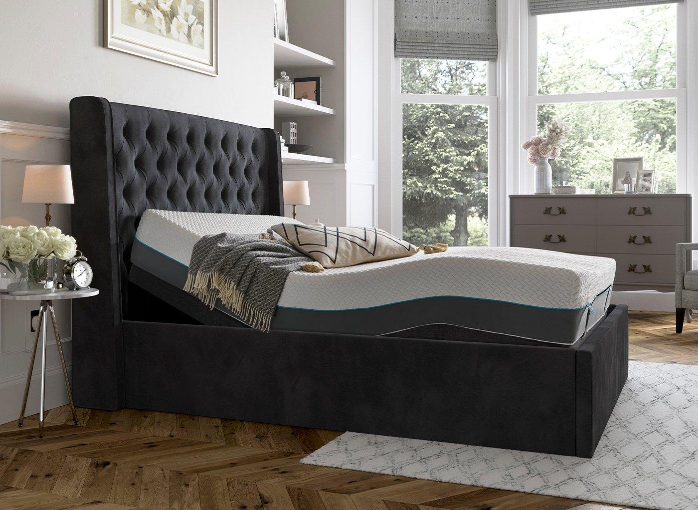 Deacon Sleepmotion 200i Adjustable Upholstered Bed Frame 5'0 King GREY