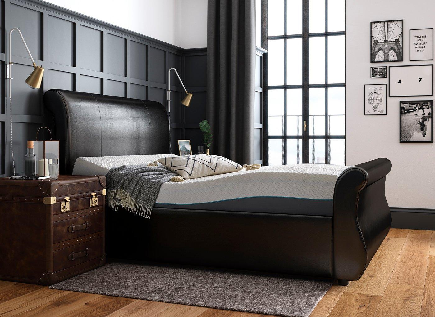 Detroit Sleepmotion 200i Adjustable Upholstered Bed Frame 5'0 King BROWN