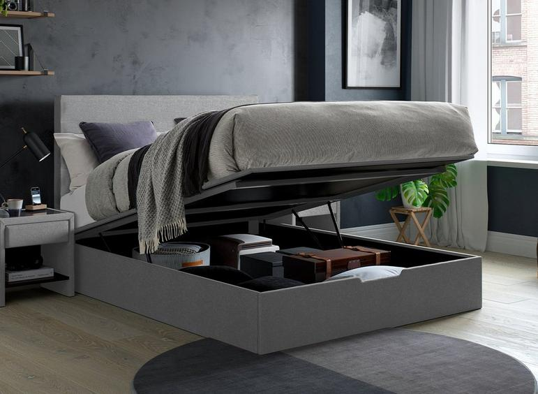 Sutton Upholstered Ottoman Bed Frame 5'0 King SILVER