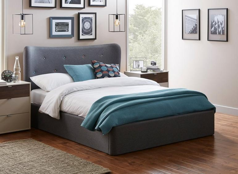 Warne Fabric Upholstered Ottoman Bed Frame Dreams