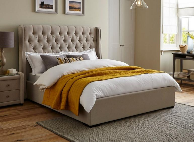 Deacon Upholstered Bed Frame 6'0 Super king CREAM