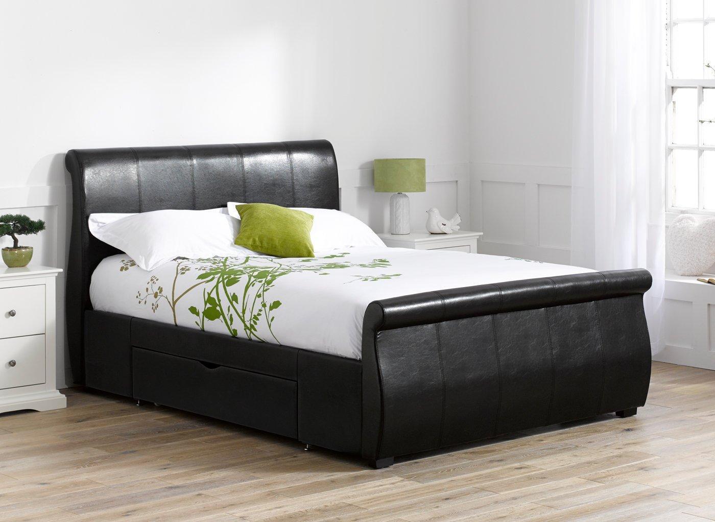 Manhattan Black Bonded Leather Upholstered Bed Frame 4'6 Double