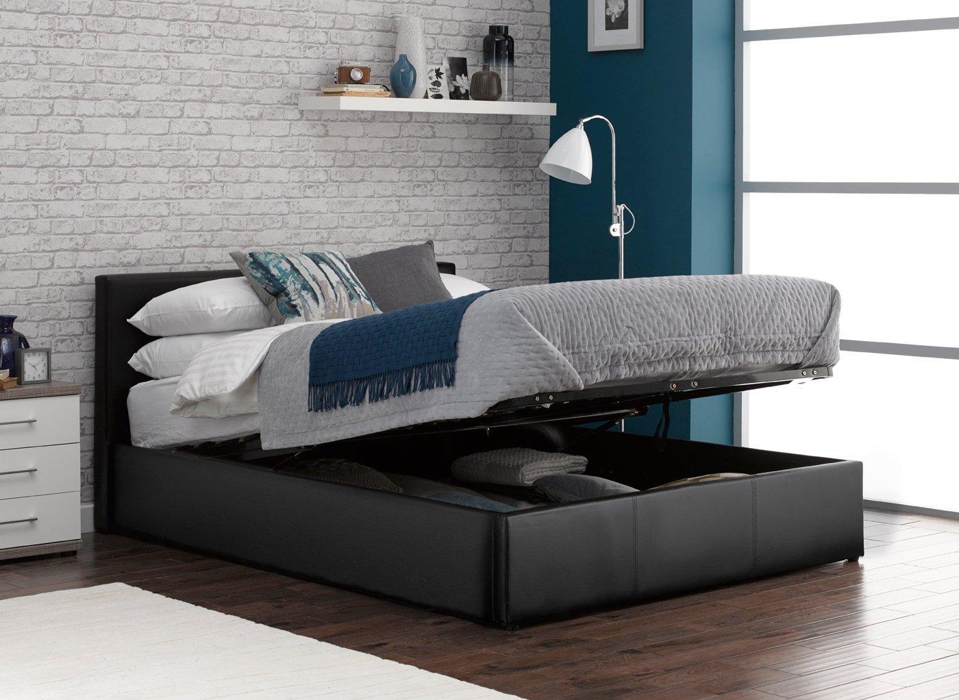 Yardley Upholstered Ottoman Bed Frame 4'6 Double BLACK