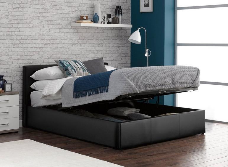 Yardley Upholstered Ottoman Bed Frame 3'0 Single BLACK