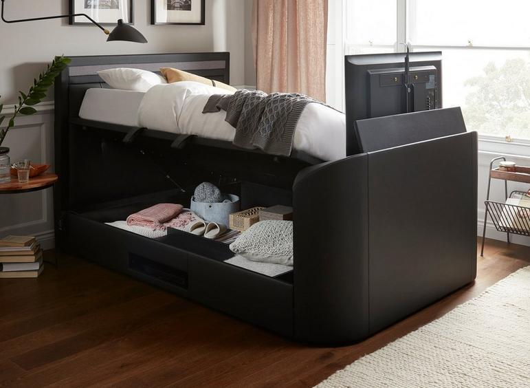 Tokyo D Ottoman Tv/Media Bed Black Leather 4'6 Double