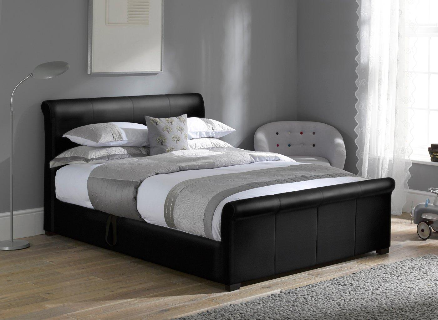 Wilson Black Fabric Ottoman Bed Frame 4'0 Small double