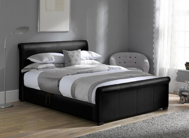 Wilson Black Fabric Ottoman Bed Frame 4'6 Double