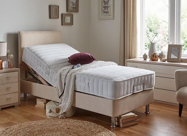 Danson Mattress With Standard Oatmeal Adjustable Divan Bed On Legs- Medium 4'6 Double BEIGE